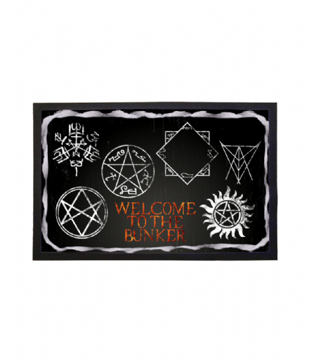 Welcome To The Bunker Doormat Supernatural Warding Symbols Welcome Mat